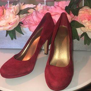 Franco Sarto Red Suede Heels size 8.5